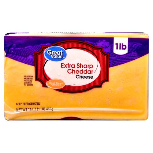 Queso Great Value Cheddar Trozo - 453gr