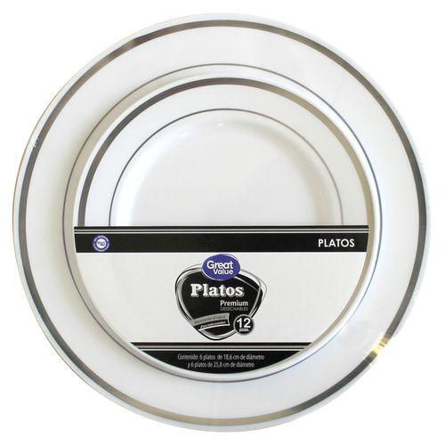 Set De Platos Great Value Desechables Premium - 12 Unidades