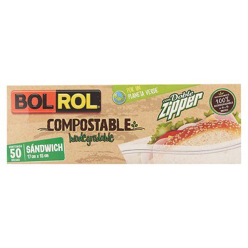 Bolsa Bolrol Para Sandwich Compostable - 50 Piezas