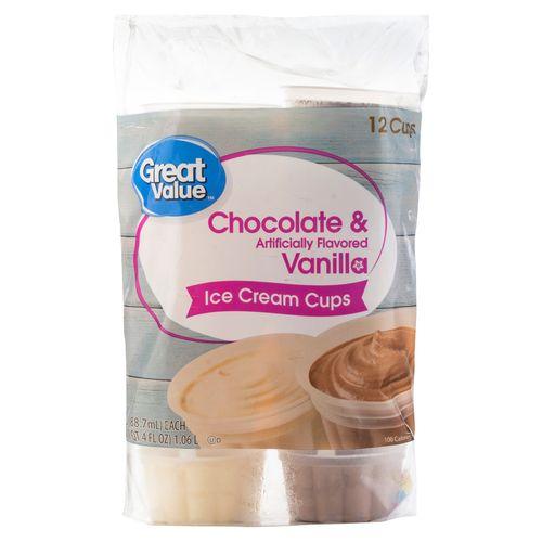 Helado Great Value  Copa Chocola Vainilla 12 Unidades - 88gr