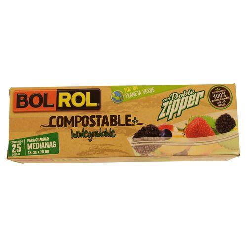 Bolsa Bolrol Para Alimento Compostable Mediana - 25 Piezas