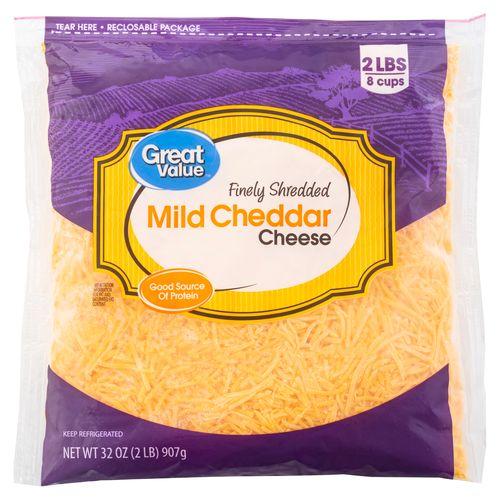 Queso Great Value Cheddar Rallado - 907gr