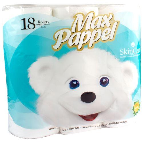 Papel Higienico Max Pappel Skin Care 400 Hojas - 18 Rollos