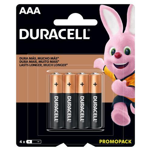 Bateria Duracell Alcalina AAA - 4 Unidades