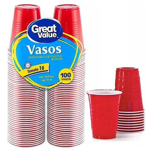 Vaso Great Value Bicolor N16 - 100 unidades