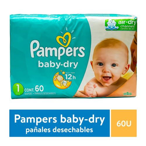 Pañal Pampers Baby Dry S1 - 60 Unidades